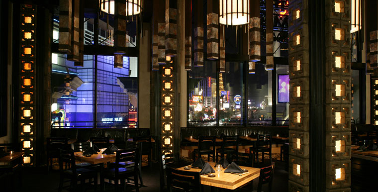 The dining room at Sushi Roku boasts a view of the Strip, photo courtesy Sushi Roku