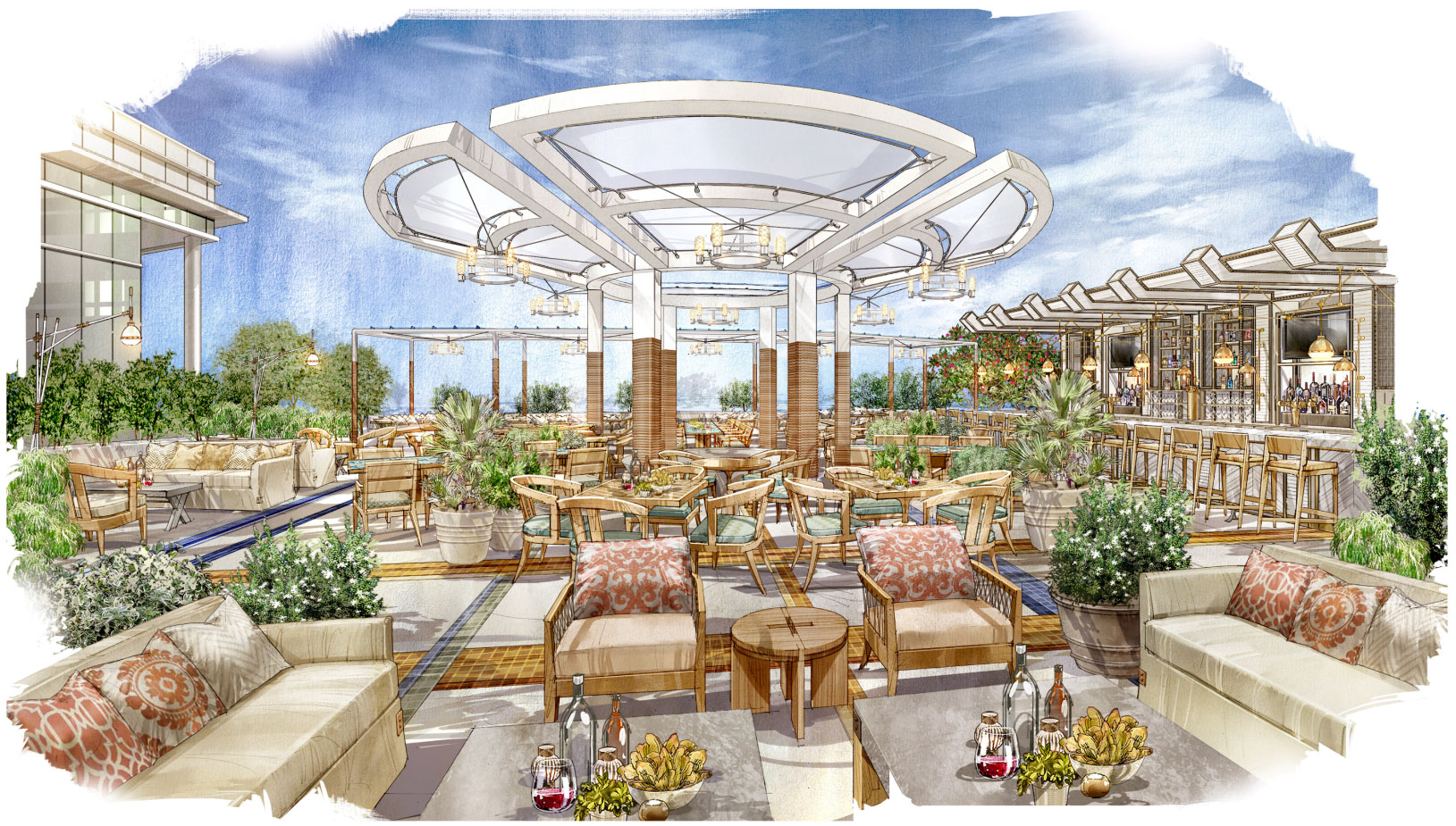 A rendering of the outdoor area at Herringbone, courtesy of Aria