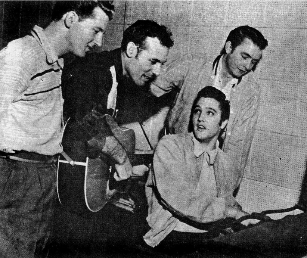 Elvis Presley, Jerry Lee Lewis, Carl Perkins and Johnny Cash of the original Million Dollar Quartet.