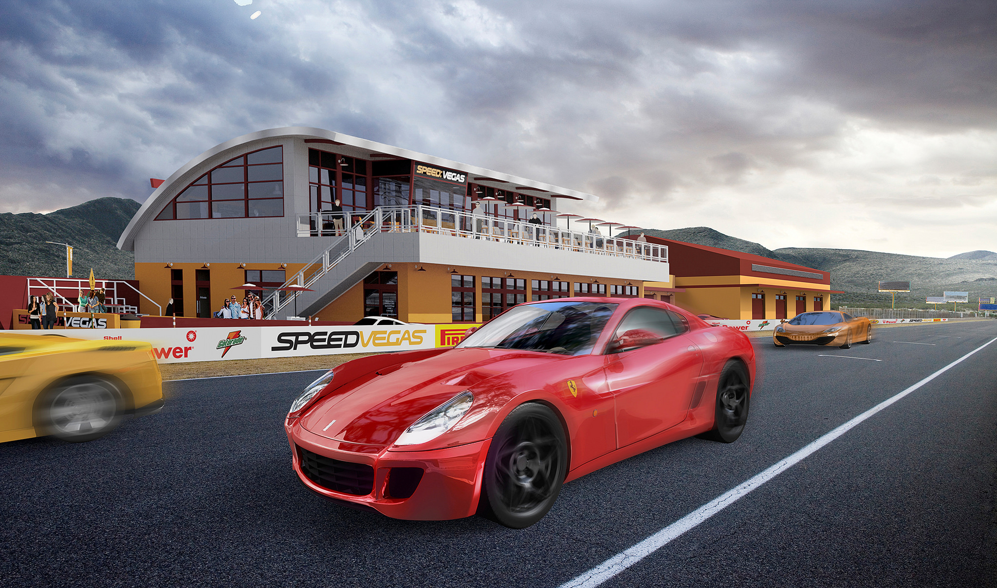 SPEEDVEGAS is a $30 million, 100-acre motorsports complex featuring Las Vegas' longest exotic car track. Photo courtesy of SPEEDVEGAS.