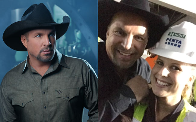 Left, Garth Brooks returns to Las Vegas in summer 2016. Right, Brooks says hello to Vegas Insider Haley Caldwell. Left photo Courtesy of MGM International. Right photo courtesy of Haley Caldwell.