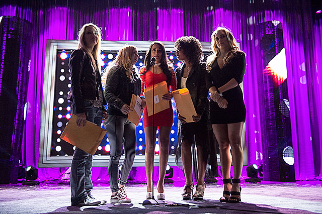2015 AVN Awards rehearsal with presenters Kenna James, Lexi Belle, Layla Sin, Misty Stone, and Ryan Ryans. (Koga/LAist)