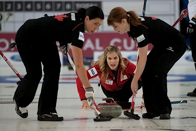 2015 World Financial Group Continental Cup Curling, Calgary AB, Jennifer Jones, Jill Officer, Dawn McEwen, CCA/michael burns photo