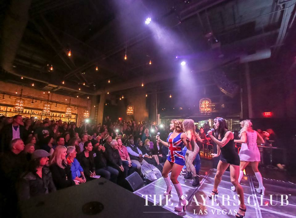 Just replace the Spice Girls impersonators with football. Photo courtesy of The Sayers Club.