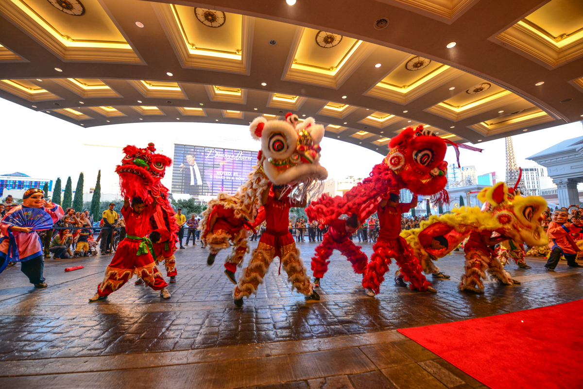 Traditional lion dance at Caesars Palace. Photo courtesy of Caesars Entertainment.