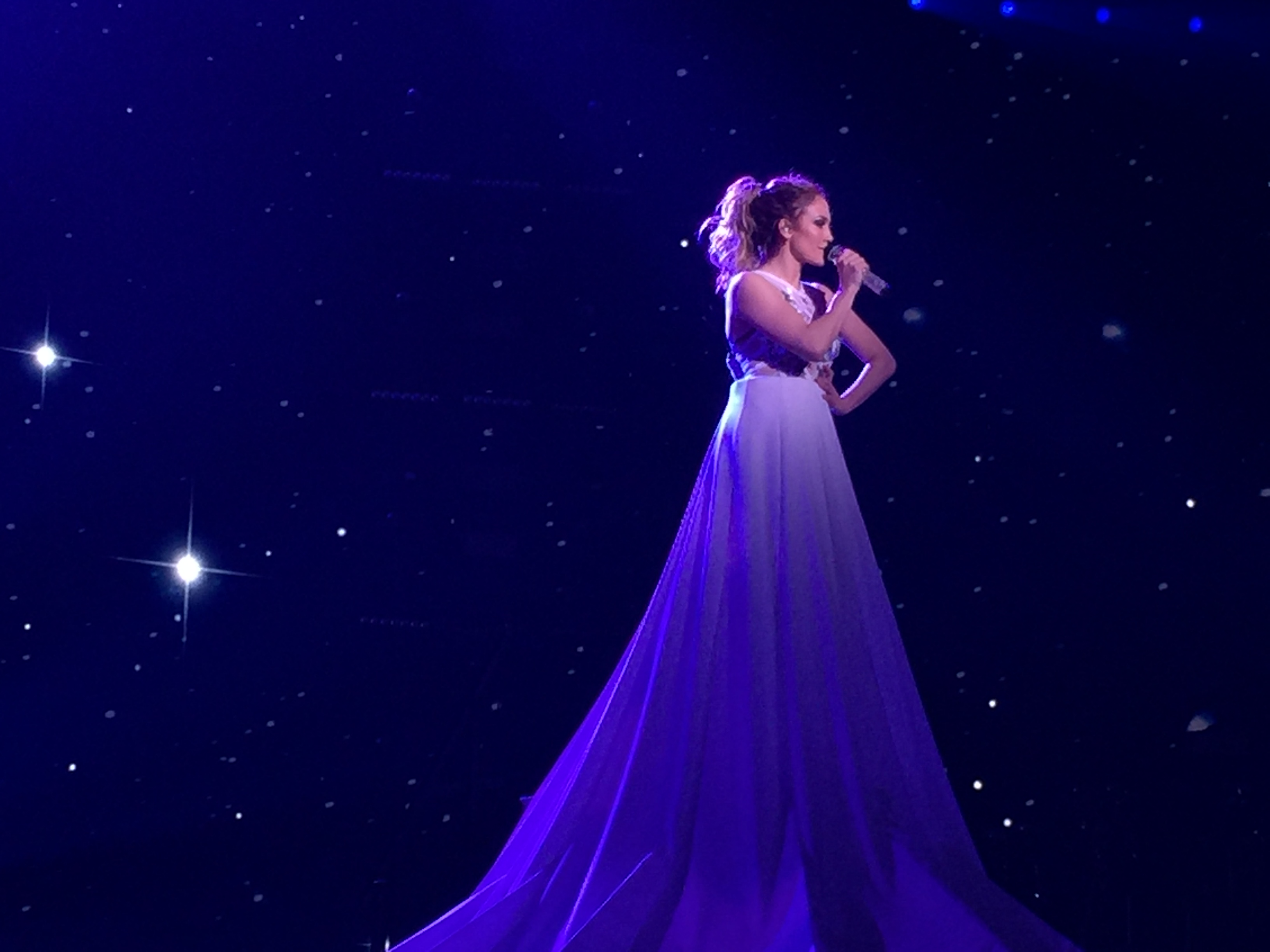 "J. Lo looking like angelic perfection while singing ""I Hope You Dance."" Photo credit: Ashley Oñoz-Wright"