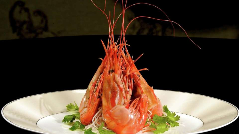 A shrimp dish at Blossom, photo courtesy of Aria.