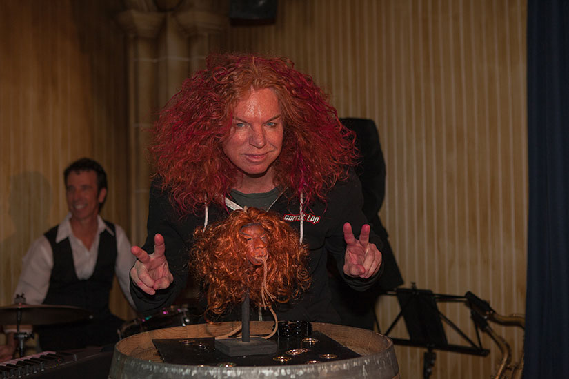 Carrot Top with a shrunken head. Because... Golden Tiki. Photo courtesy of Golden Tiki and Carrot Top.