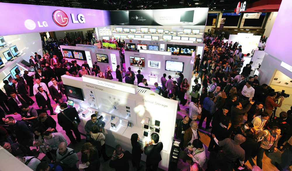 LAS VEGAS - JANUARY 07: A general view of attendees at the LG Electronics booth at the 2010 International Consumer Electronics Show at the Las Vegas Convention Center January 7, 2010 in Las Vegas, Nevada. CES, the world's largest annual consumer technology tradeshow, runs through January 10 and is expected to feature 2,500 exhibitors showing off their latest products and services to about 110,000 attendees. (Photo by Ethan Miller/Getty Images)