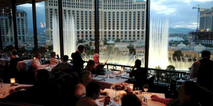 The Eiffel Tower Restaurant overlooks the Bellagio Fountains, photo courtesy of Paris Las Vegas.