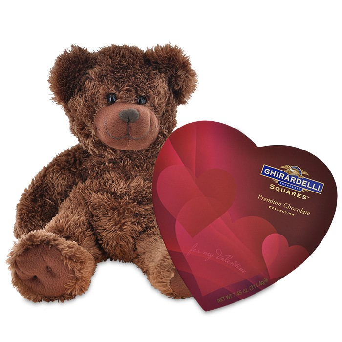 Give your sweetie a teddy bear and chocolates, photo courtesy of Ghirardelli.