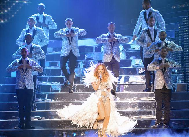 J.Lo even has a little showgirl number in her show. Photo credit: Las Vegas Sun