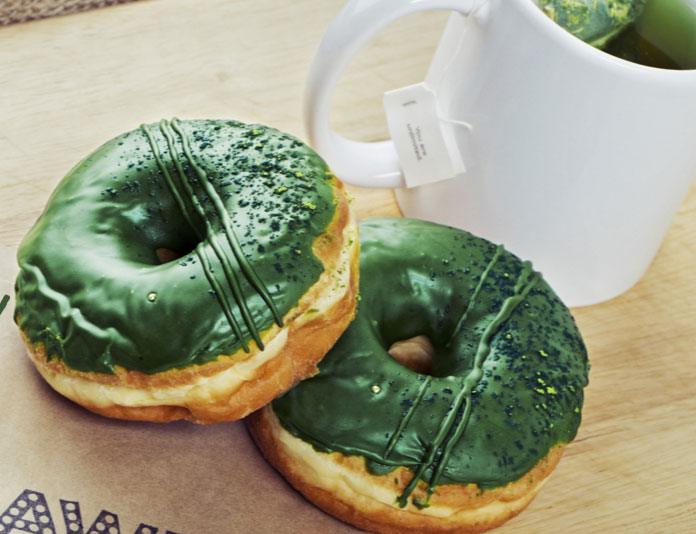 "The ""I Love You So Matcha"" donut, photo courtesy of Pawn Donut & Coffee."