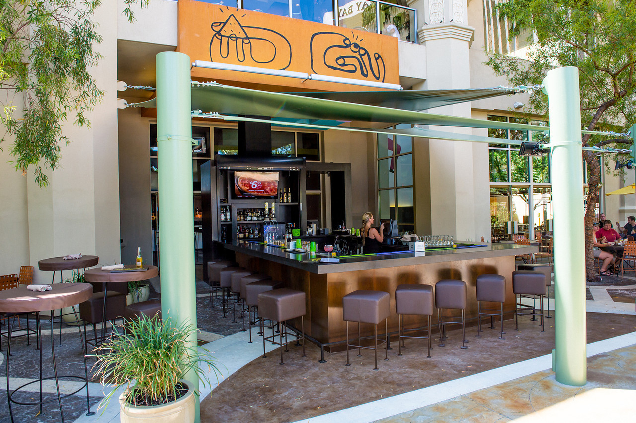 Border Grill's outdoor patio is a great spot to hang out next to the Mandalay Bay Beach, photo courtesy of Border Grill.