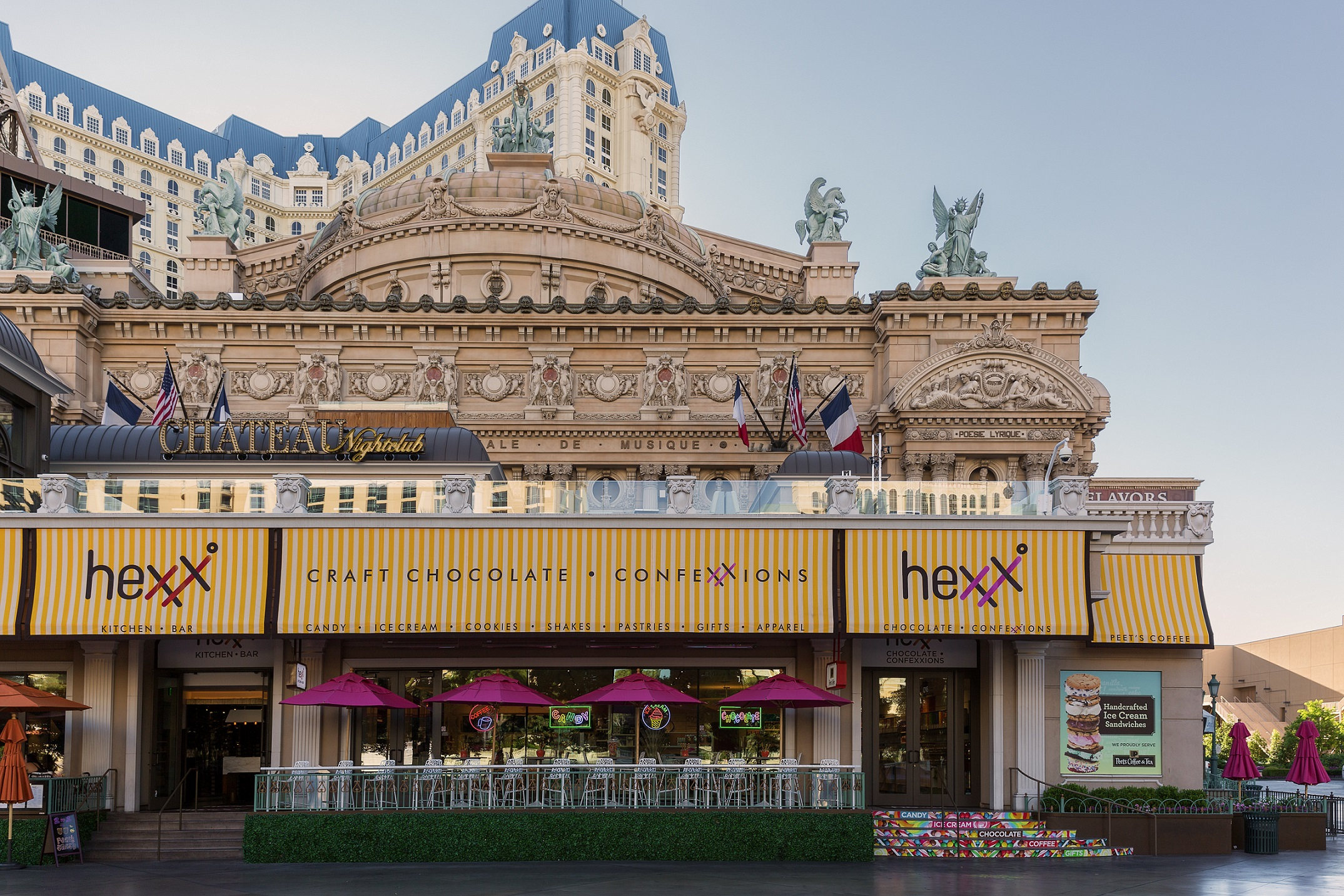 The patio at HEXX offers great Strip views, photo courtesy of Paris Las Vegas.