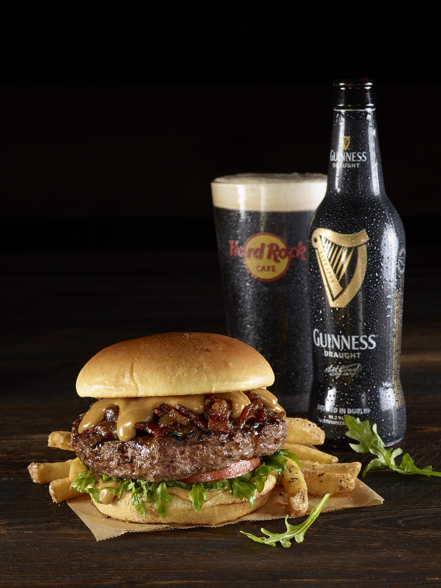 Hard Rock Cafe's Guinness & Jameson bacon cheeseburger, photo courtesy of Hard Rock Cafe.
