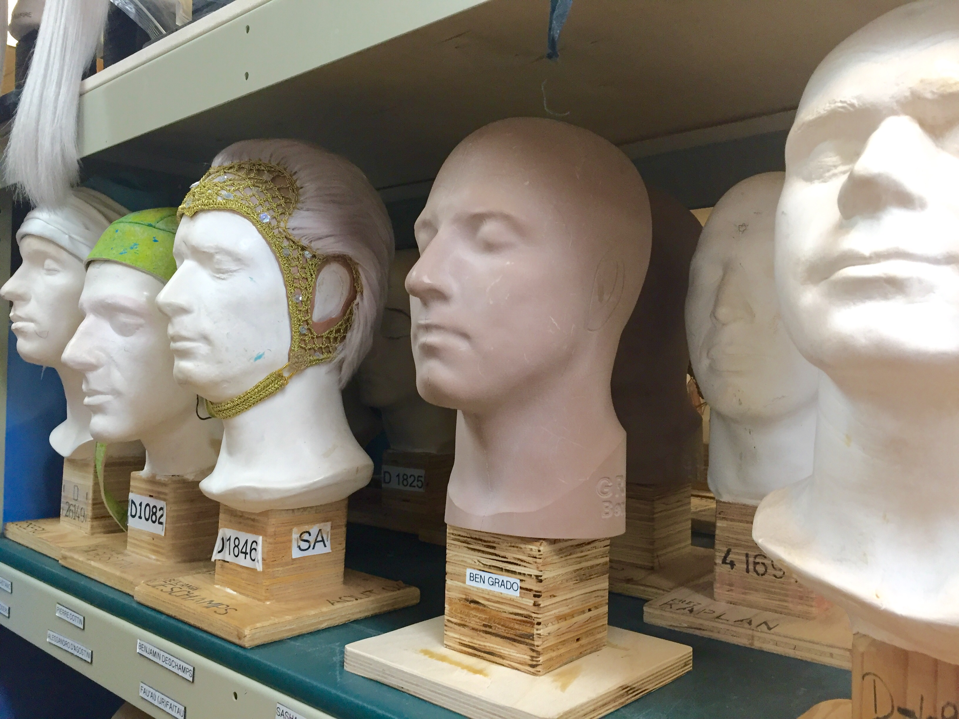 A mold of every performer's head is made for wig, headpiece and mask fittings.