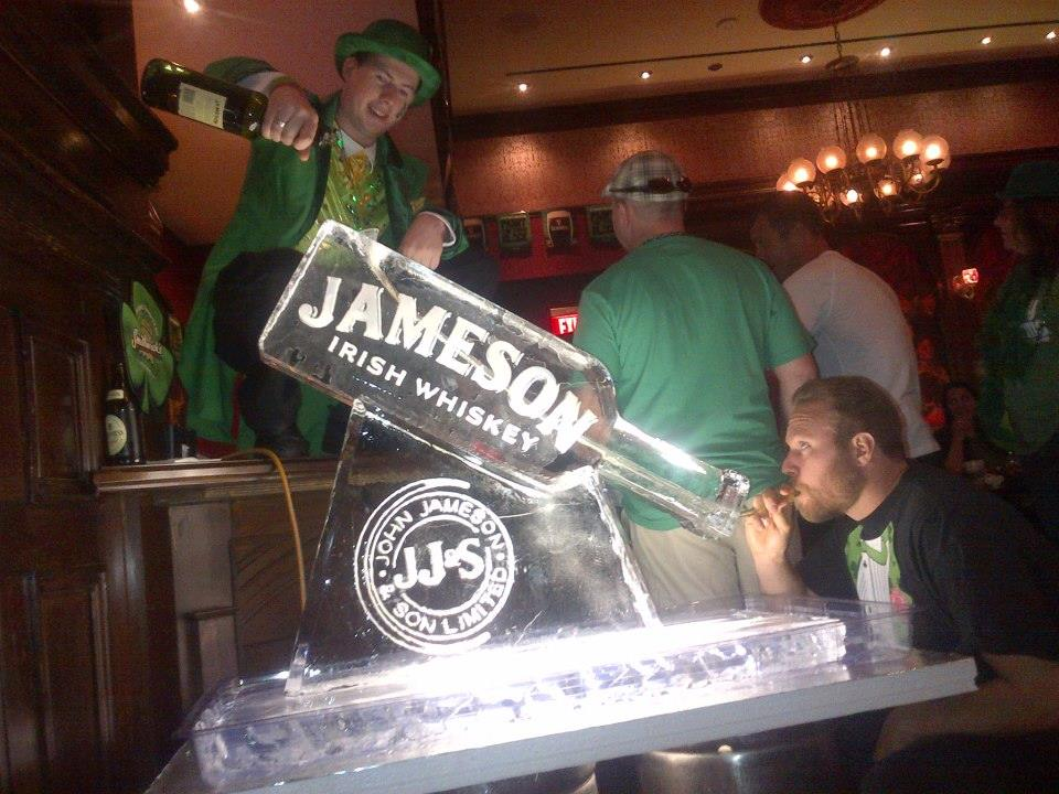Anyone know where we can get one of these for our office? The ice sculpture, not the leprechaun. We're flush with leprechauns over here. Photo courtesy of Ri Ra.