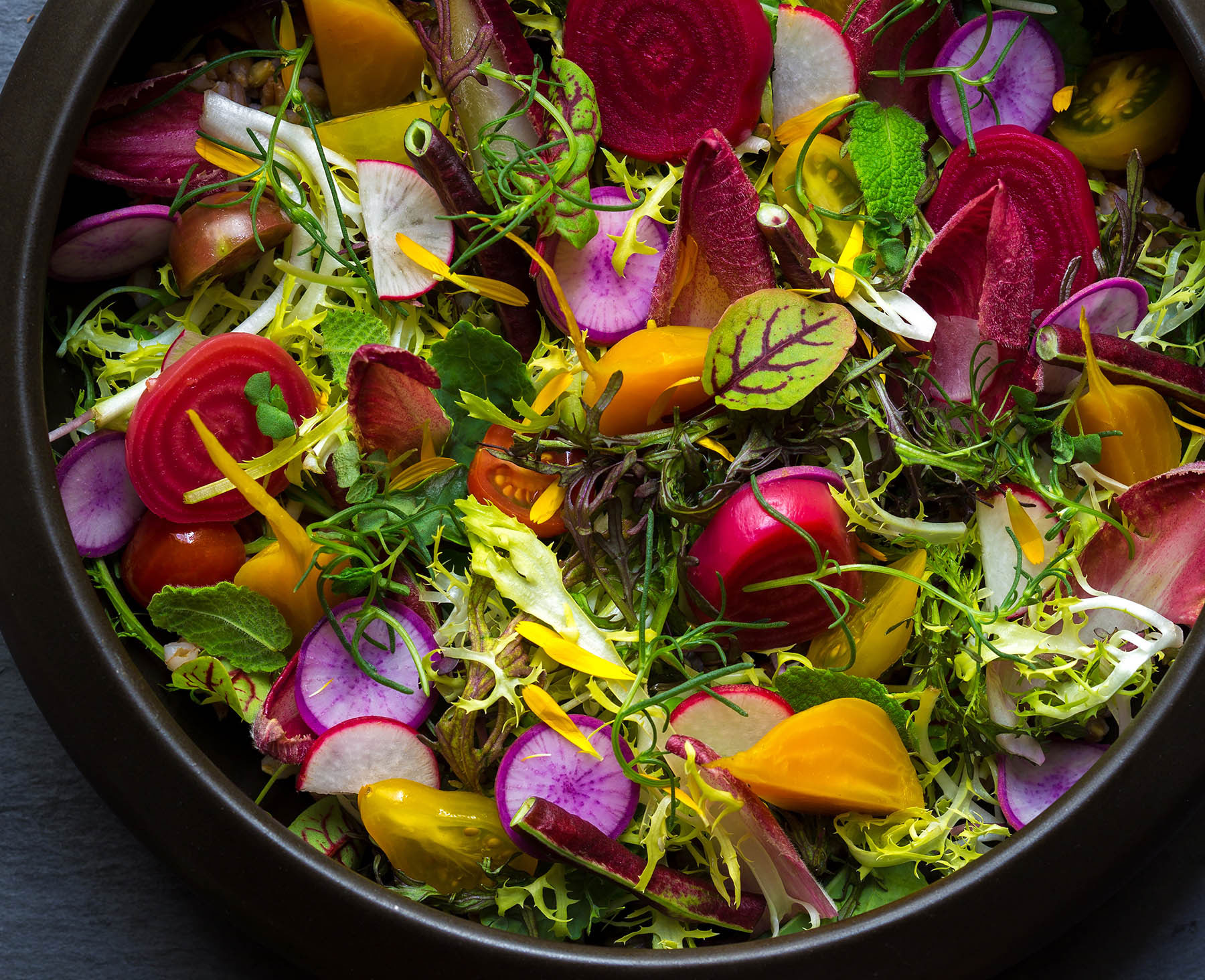 Farmer's Salad at Harvest By Roy Ellamar, photo courtesy of Bellagio.