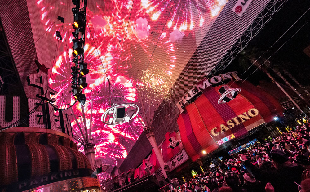 They don't always have fireworks, but if you drink enough you can pretend. Photo courtesy of Fremont Street Experience.