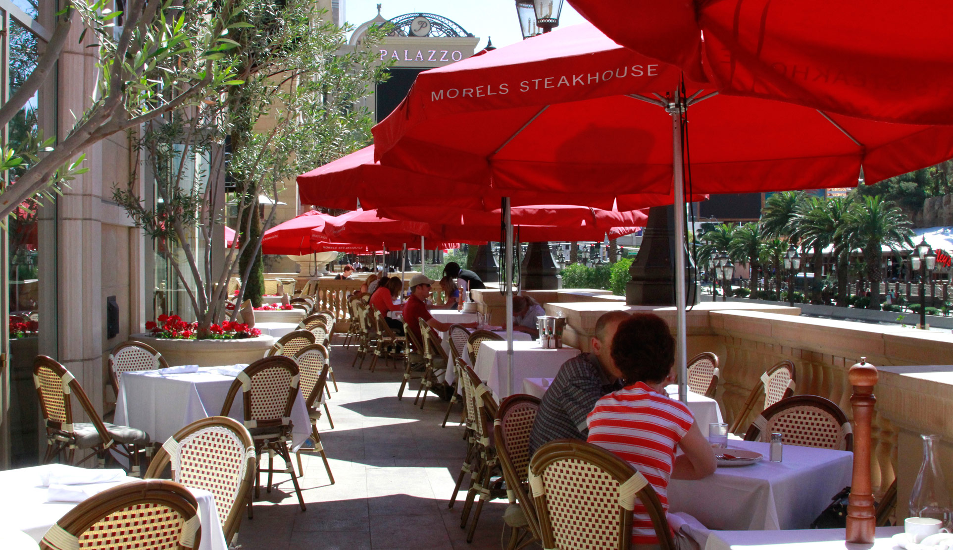 Enjoy a Strip view from the patio at Morels, photo courtesy of Morels.