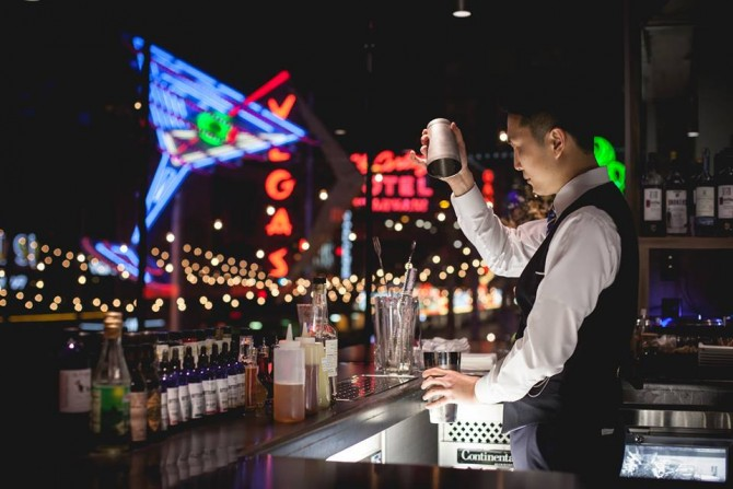 The weather's right for outdoor drinking in Las Vegas