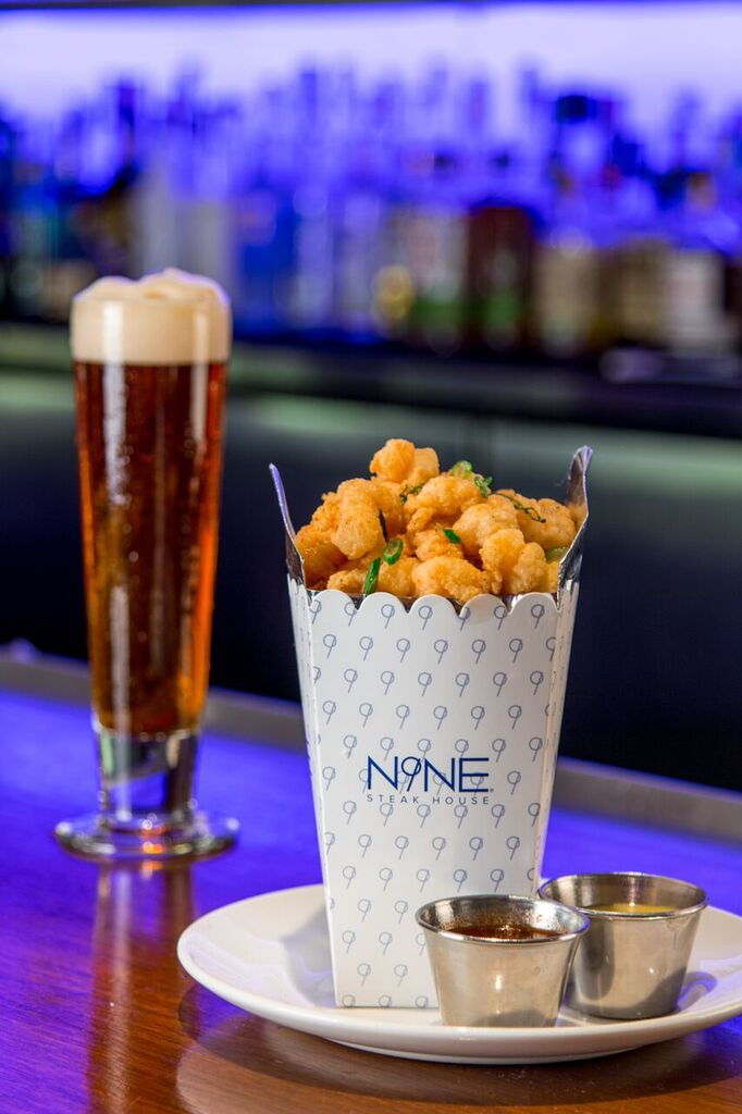 The happy hour rock shrimp at N9NE Steakhouse, photo courtesy of N9NE.