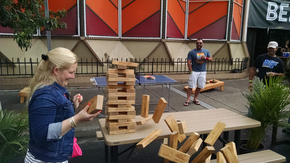 Beerhaus representing at the Great Vegas Festival of Beer. Giant jenga forever.