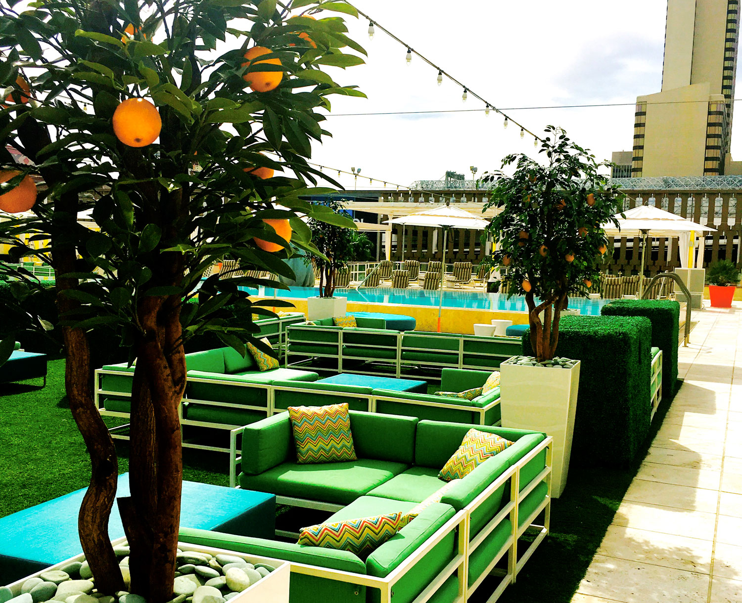 Relax and grab food at Citrus on the pool deck at Downtown Grand, photo courtesy of Downtown Grand.