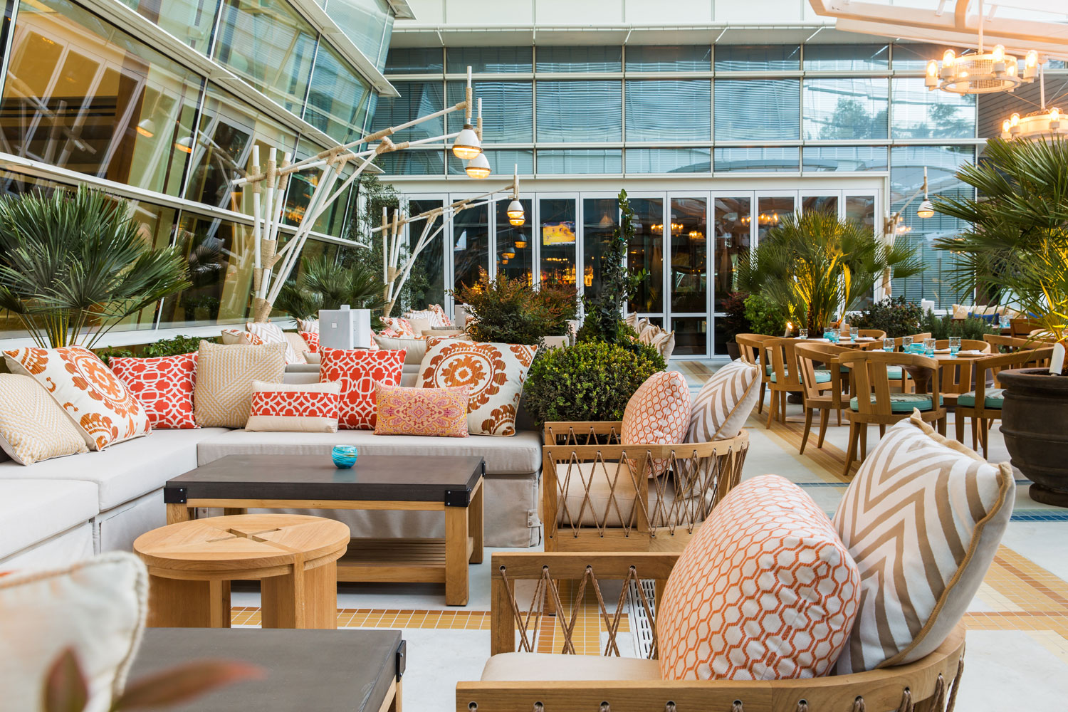 Herringbone at Aria has an outdoor patio overlooking the pool. Photo courtesy of Herringbone.