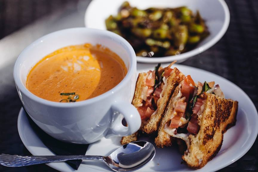 Tomato soup and grilled cheese with edamame. We've devoured this many times. Photo courtesy of Mingo.