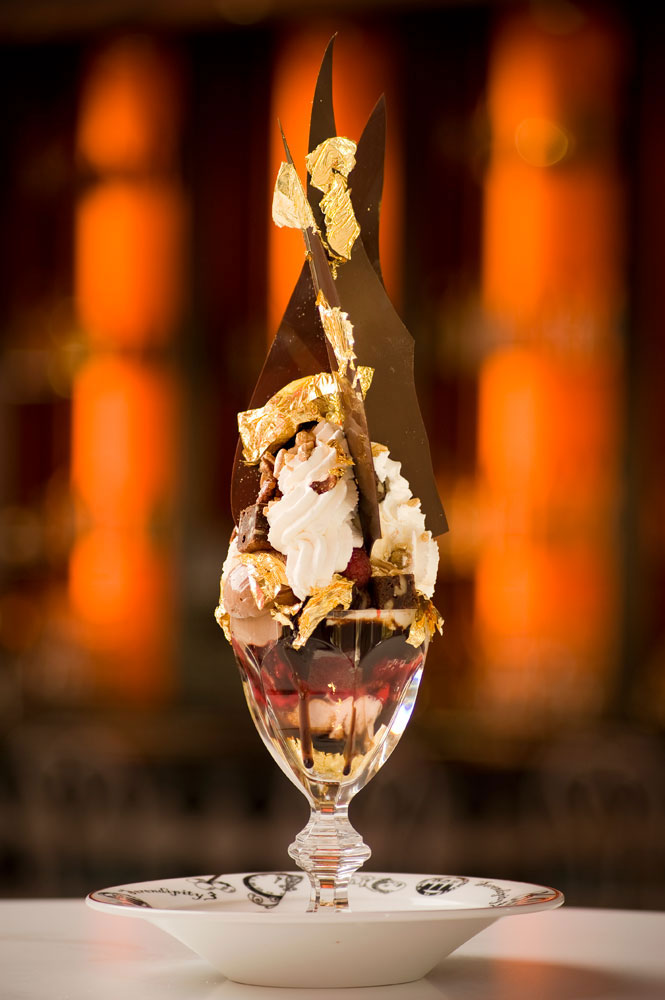 The Golden Opulence Sundae, photo courtesy of Caesars Palace.