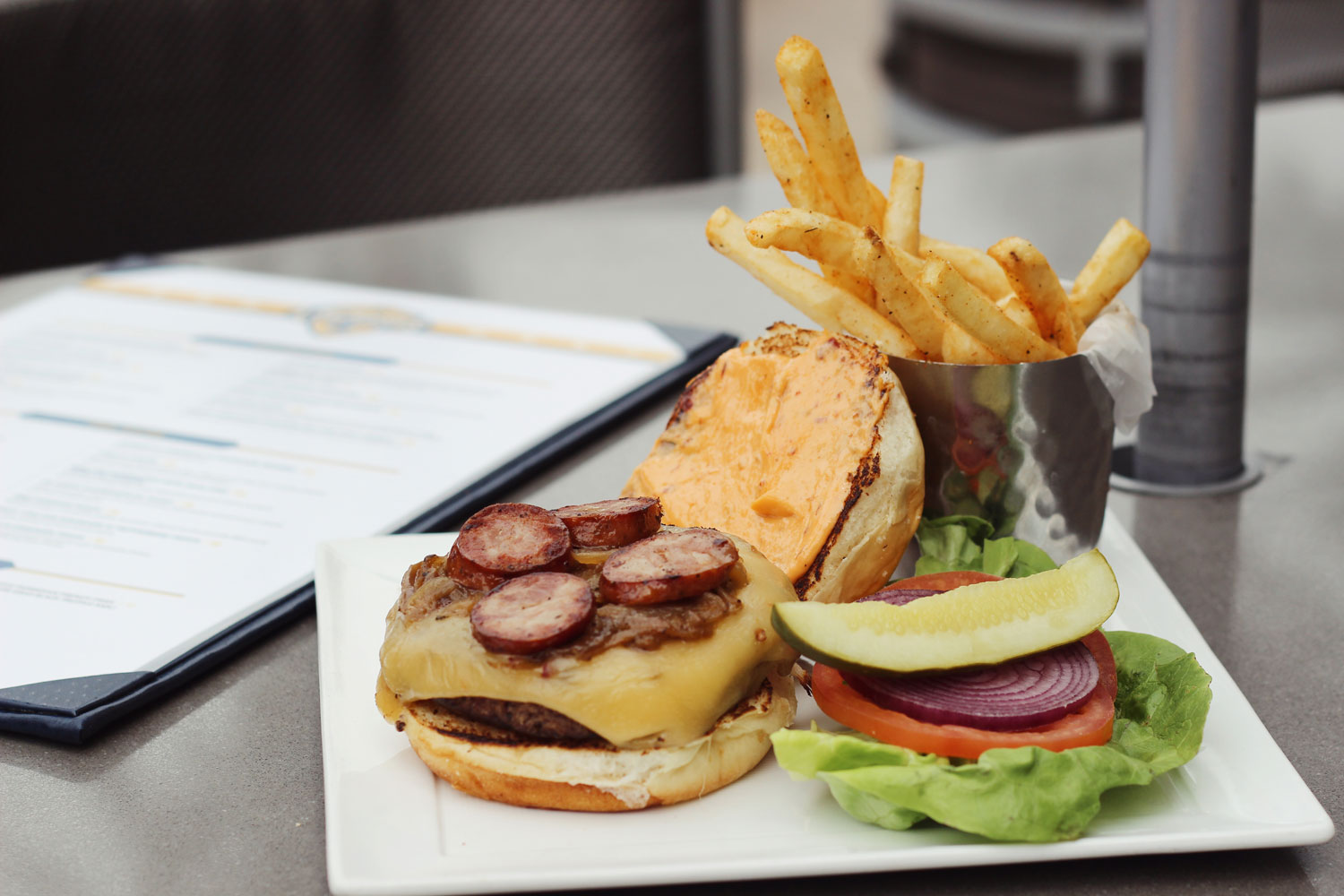 The Creole burger, photo courtesy of Lagasse's Stadium.