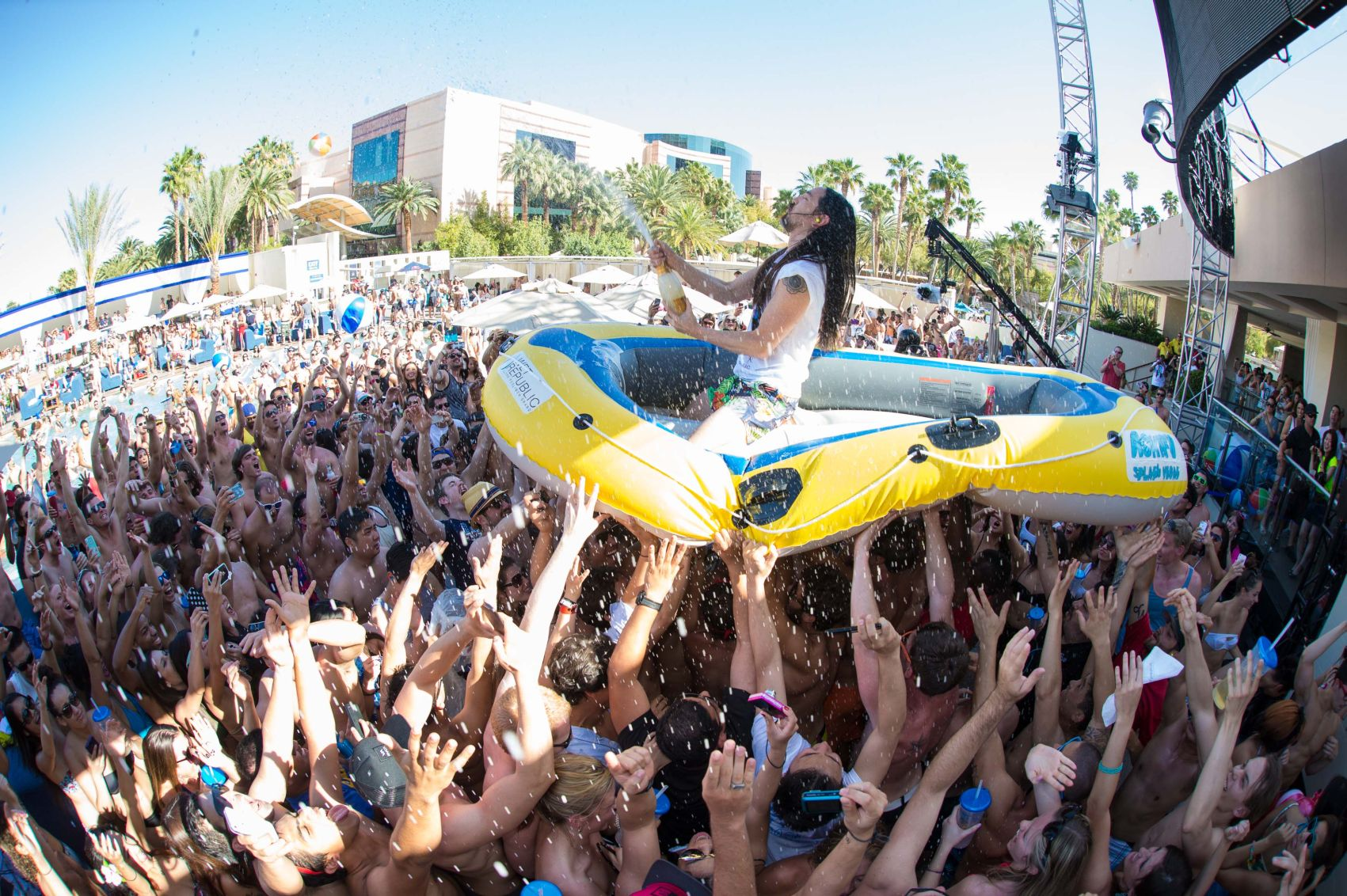 That's just Steve Aoki on a raft. No biggie. Photo courtesy of Wet Republic and Al Powers, Powersimagery.com.