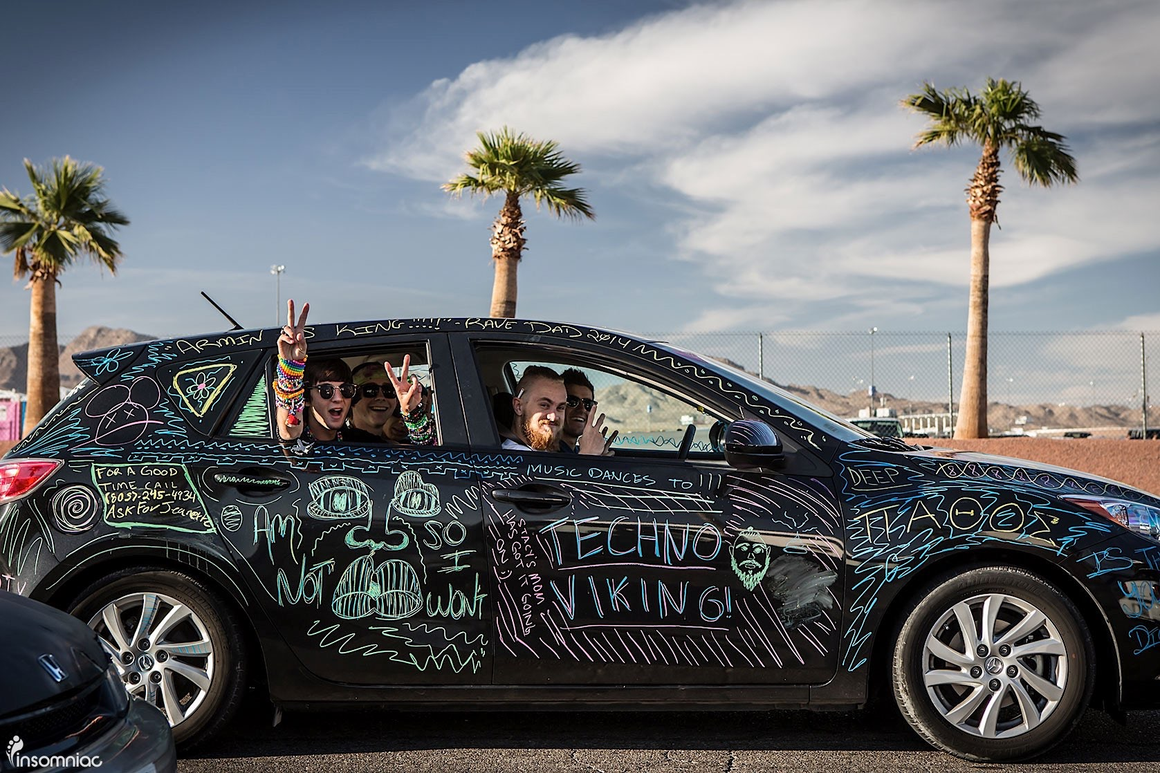 We're hoping this is their own car they decorated. Probably don't do this to a rental. Photo courtesy of Insomniac.