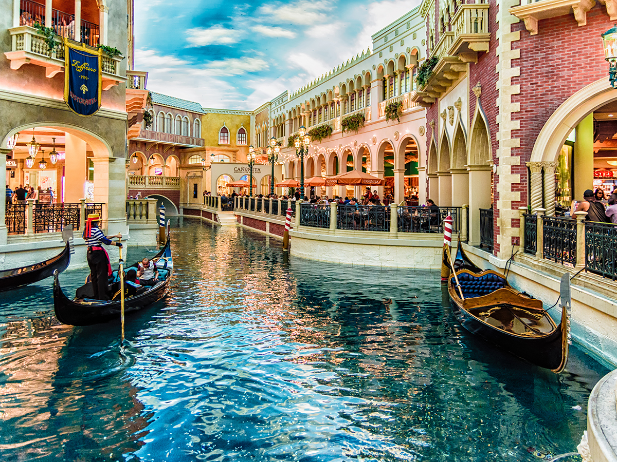 The Grand Canal Shoppes with Gondola's on the water at the Venetian Las Vegas.